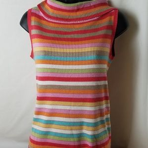 Colorful Cowl Neckline Sleeveless Sweater
